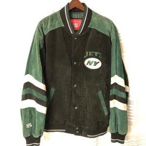 New York Jets Suede Leather NFL Jacket Size L